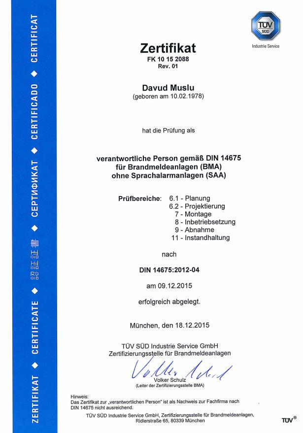 Zertifikat für verantwortliche Person gemäß DIN 14675 für BMA ohne SAA ausgestellt auf Davud Muslu