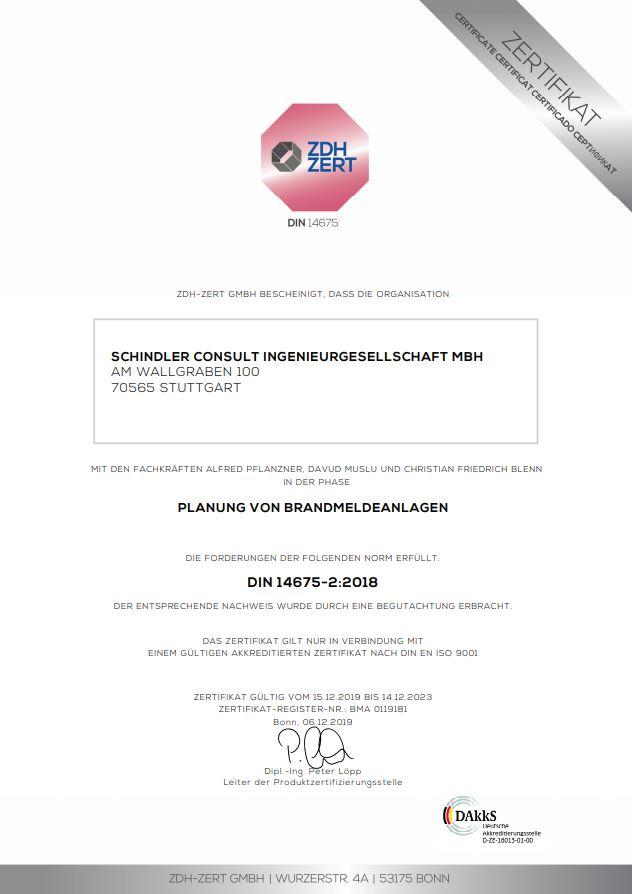 Zertifikat von ZDH ZERT für die Planung von Brandmeldeanlagen ausgestellt auf Schindler Consult Ingenieurgesellschaft mbH