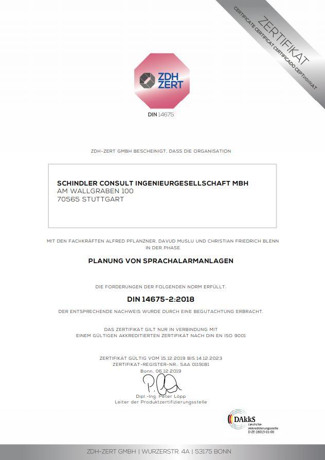 Zertifikat von ZDH ZERT für die Planung von Sprachalarmanlagen augestellt auf Schindler Ingenieurgesellschaft mbH