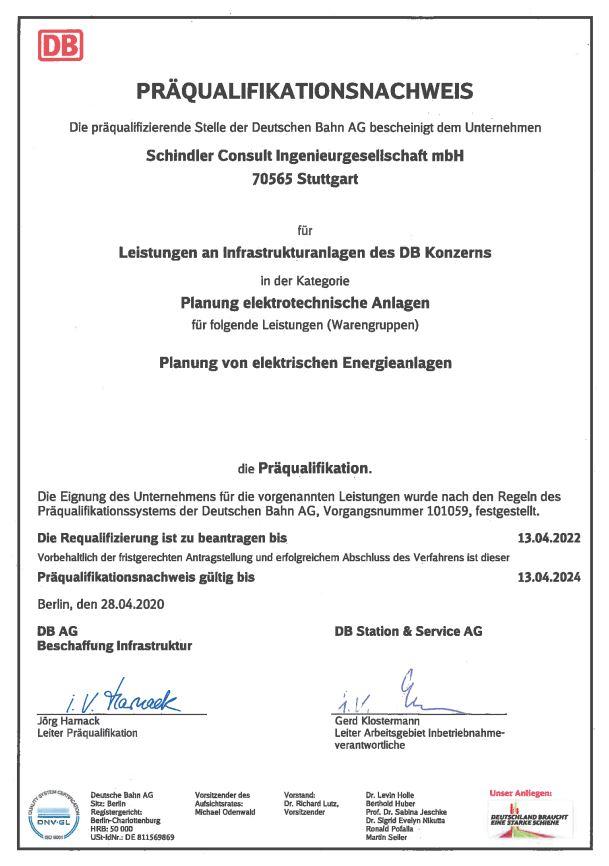 Präqualifikationsnachweis der Deutschen Bahn AG ausgestellt für Schindler Consult Ingenieurgesellschaft mbH