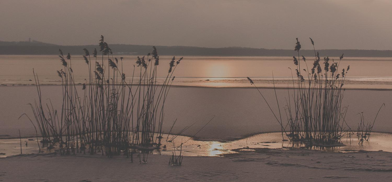 Sonnenuntergang an einem Seeufer