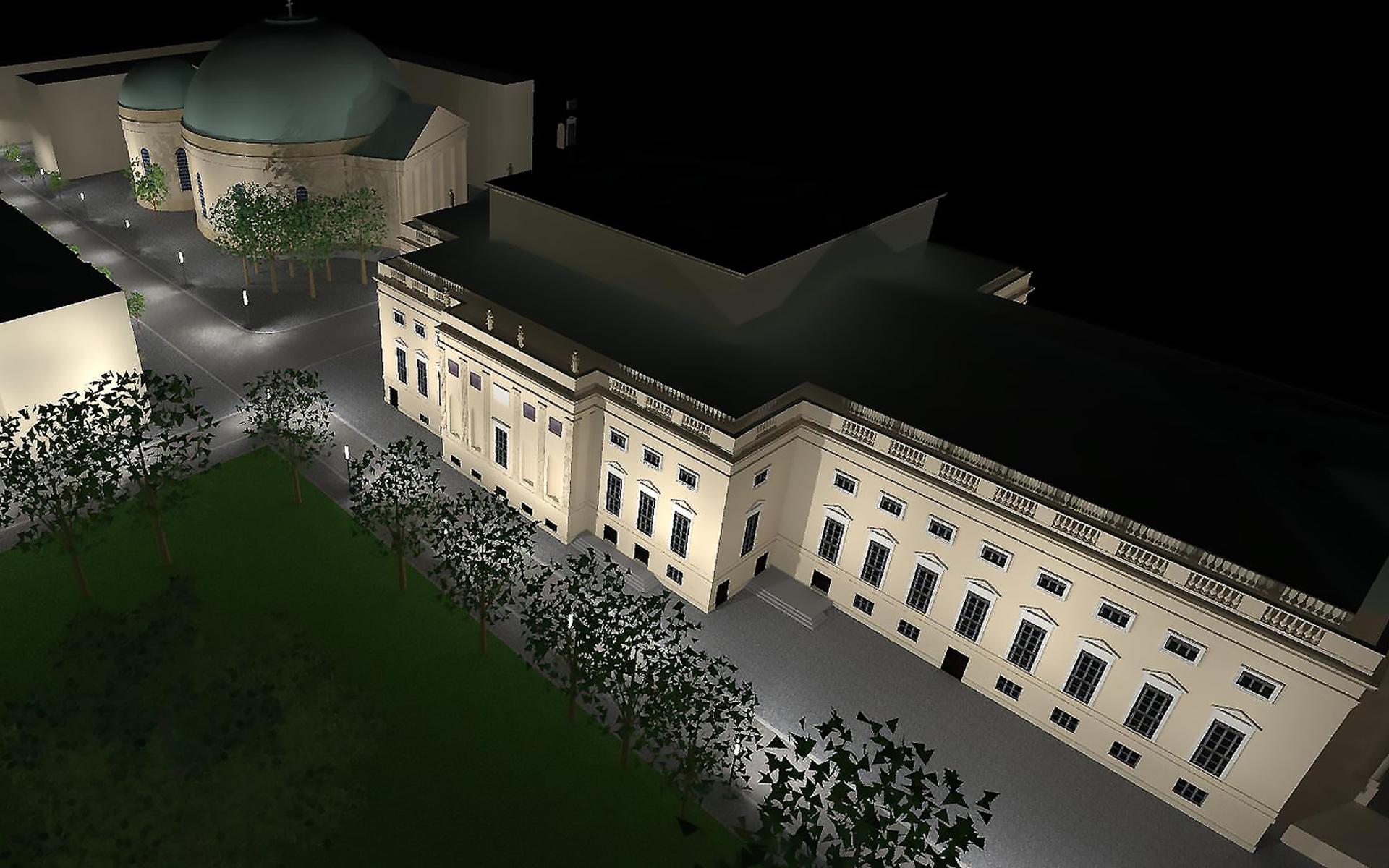 Visualisierung der Staatsoper bei Nacht
