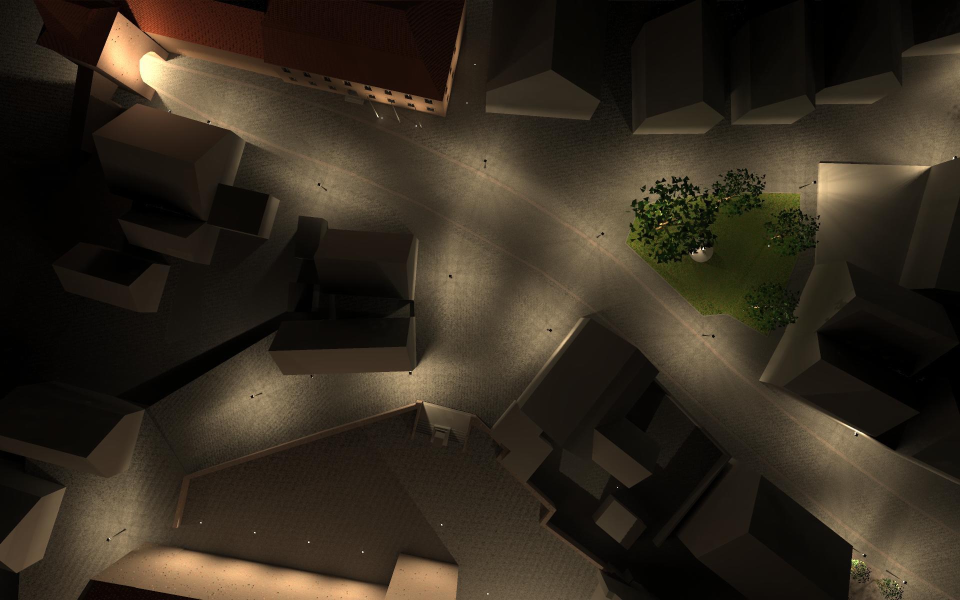 Visualisierung eines Lichtkonzepts des Stillaplatz in Abenberg als Draufsicht