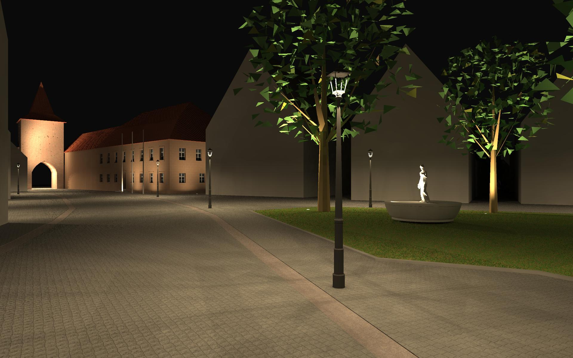 Visualisierung eines Lichtkonzepts vom Markt des Stillaplatz in Abenberg