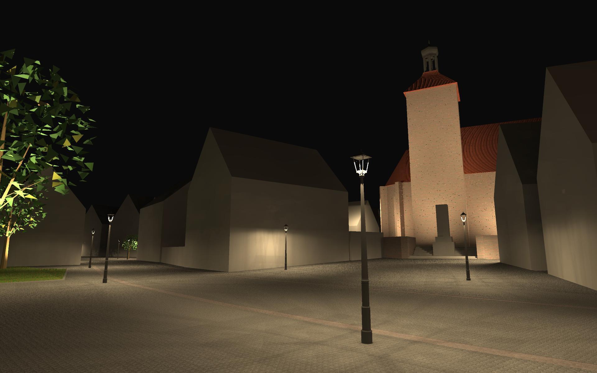 Visualisierung eines Lichtkonzepts der Kirche am Stillaplatz in Abenberg